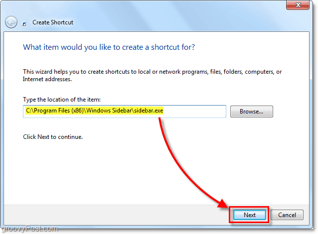 sidebar location in windows 7 for 32-bit on 64-bit