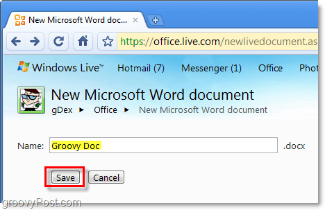 name your word document and save it in office live web app