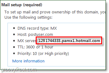 copy the mx server information from your live domain admin page