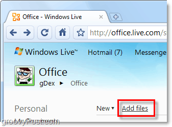 add files to skydrive via office live