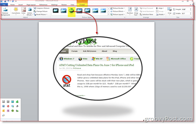 Word 2010 Screenshot Design Tab