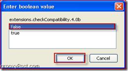 boolean value false