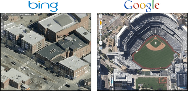 Google Maps Overhead 45 Degree View Vs. Bing Birds Eye