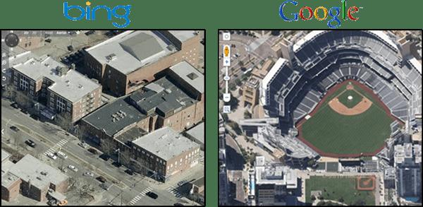 Google Maps Overhead 45 Degree View Vs. Bing Birds Eye