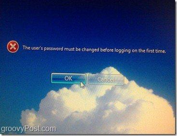 Pop-up that user much change password