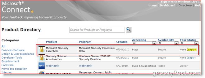 Microsoft Connect beta program page