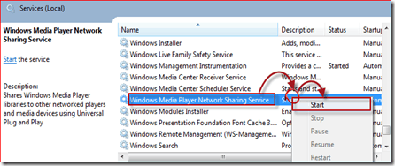 start windows media player 12 service
