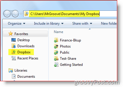 Windows Explorer Dropbox Path