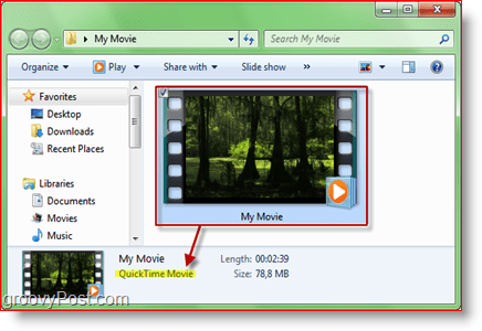 Movie quicktime display