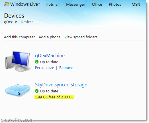 only 2 gigs of the 25gb skydrive for live sync, what gives?