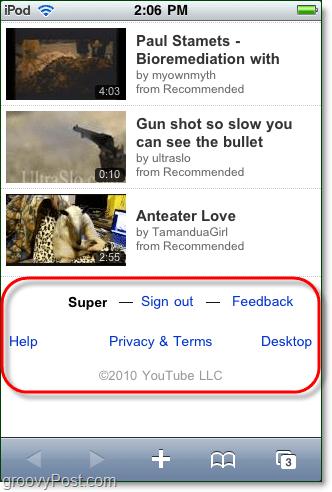 youtube mobile desktop version sign out