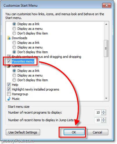 favorites menu in start menu in windows 7