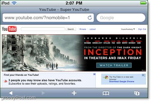 youtube mobile not mobile as a desktop version