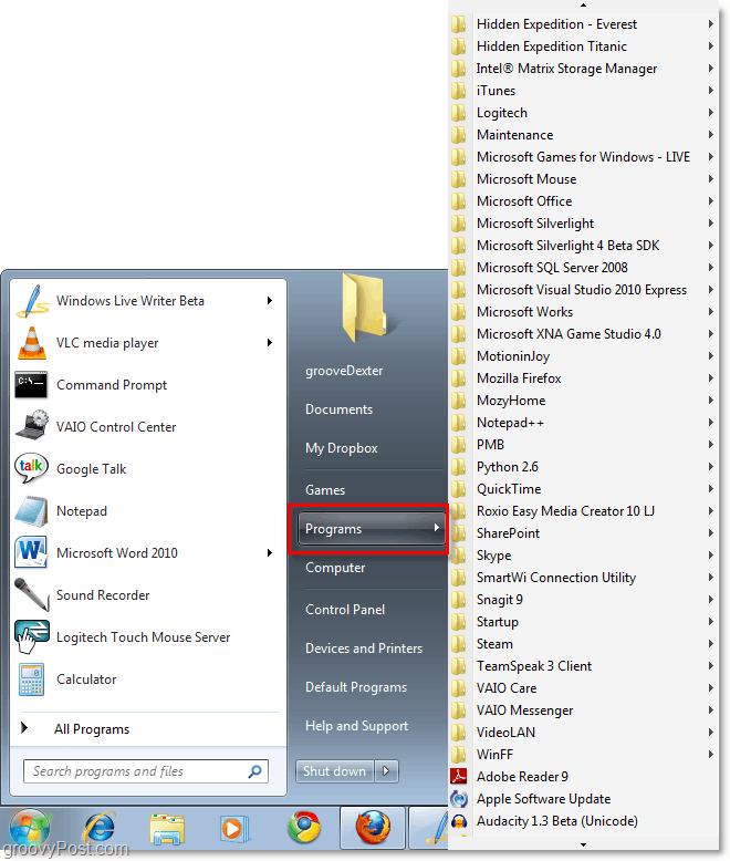 windows 7 start menu with xp classic All programs start menu