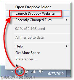launch the dropbox website windows 7