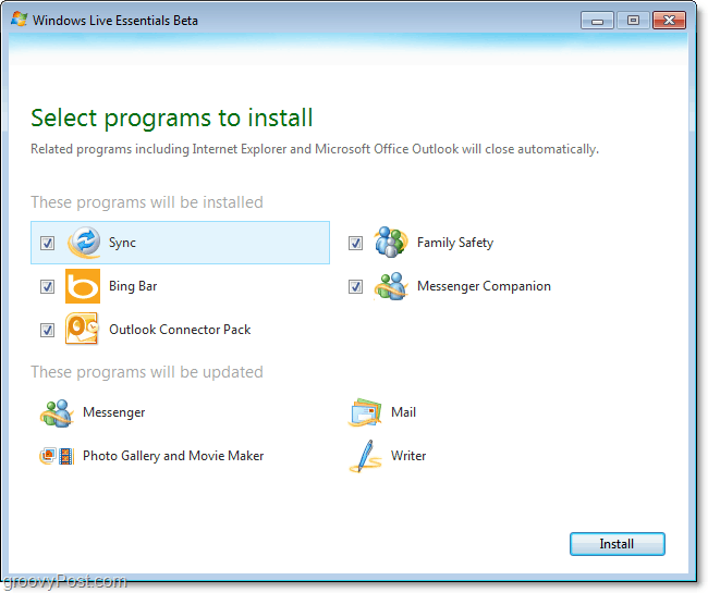 live essentials beta installation options