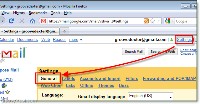 access gmail general settings