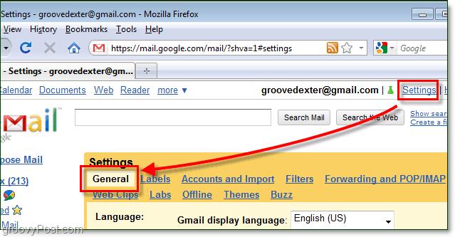 access gmail general settings