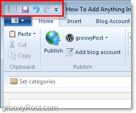 find the live writer beta quick access toolbar