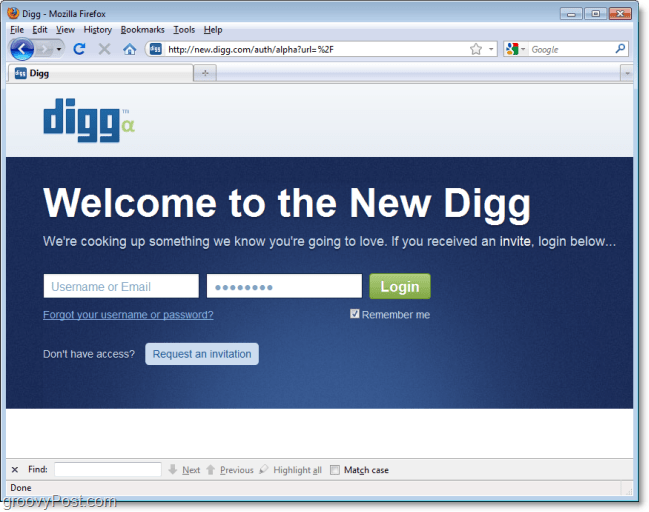 Welcome to the new digg, request an invite acces