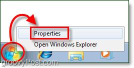start menu properties