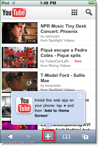 youtube add to home screen mobile iphone