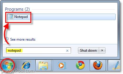 open notepad windows 7