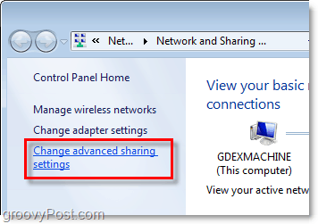 advanced sharing settinsg in windows 7