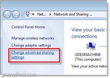 advanced sharing settinsg in windows 7