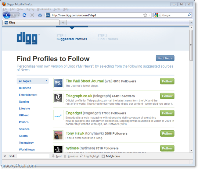 the new digg follow feature during sign in for first time