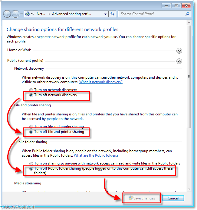 disable sharing in windows 7