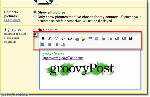 gmail with rich text signatures and images