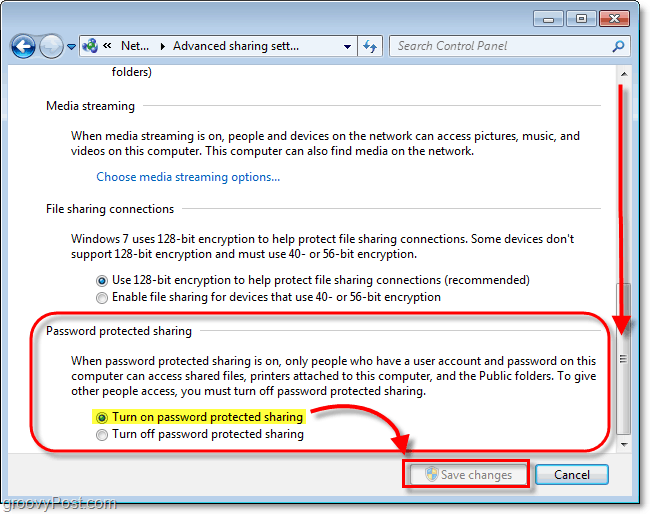 enable password protection of locally shared files in windows 7