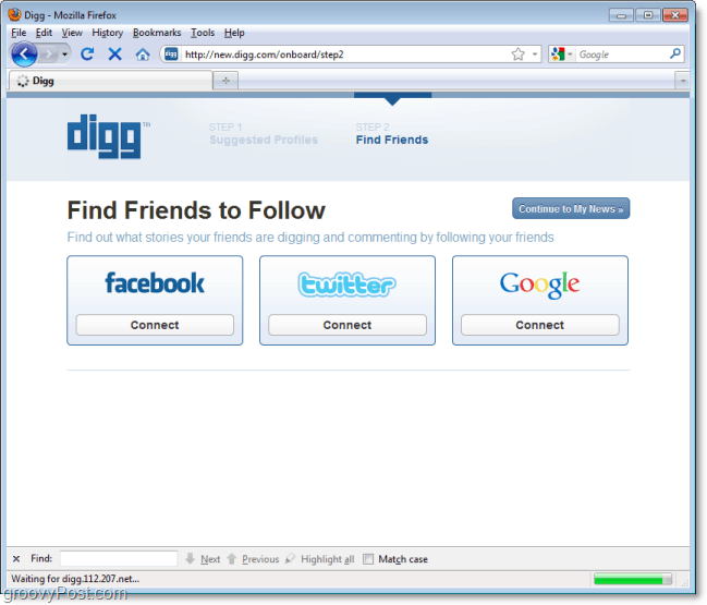 facebook twitter google sign in and follow system on the new digg