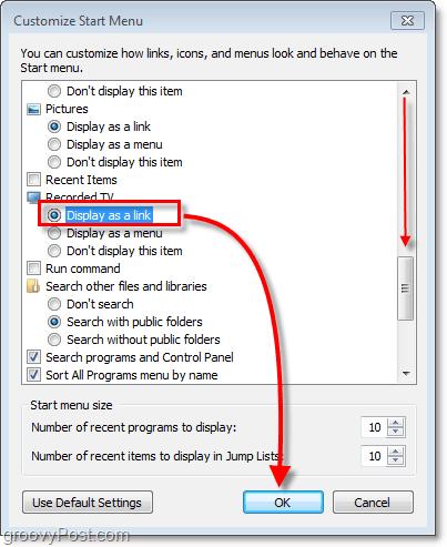 start menu link customize windows 7