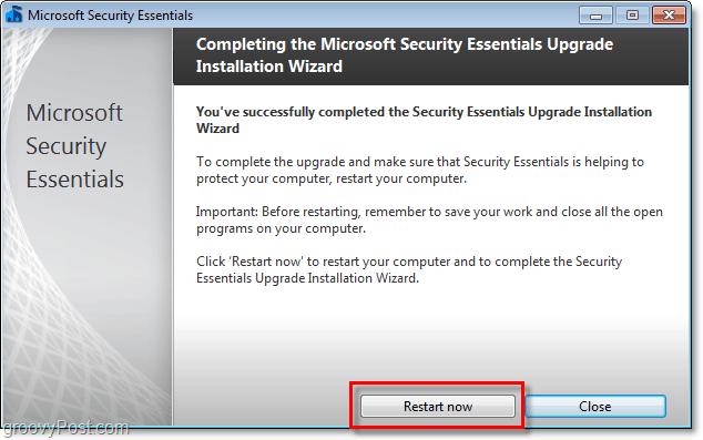 restart computer to complete microsoft security essentials 2.0 beta installation