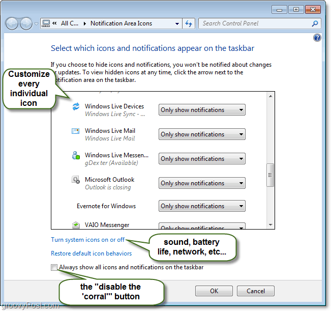 customize windows 7 system tray notifications control panel