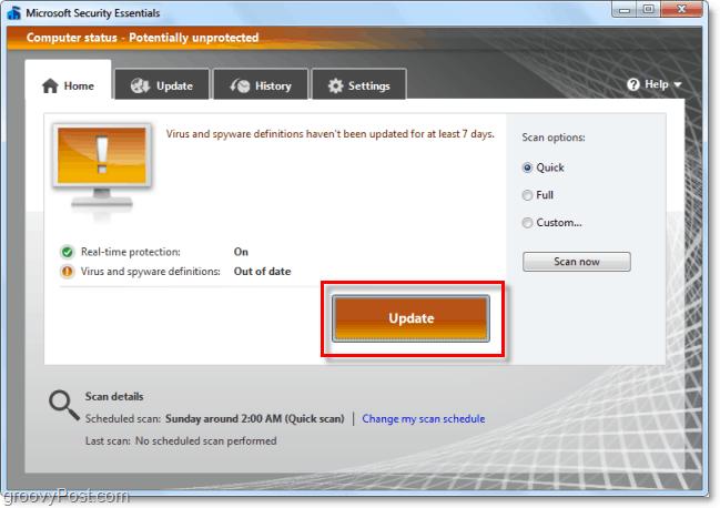 update microsoft security essentials 2.0 beta virus definitions