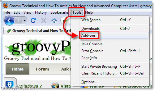 tools add-ons option menu in firefox