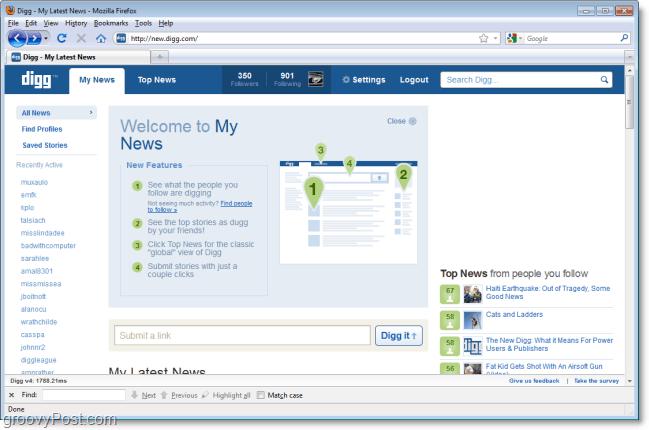 My News on the new digg screenshot