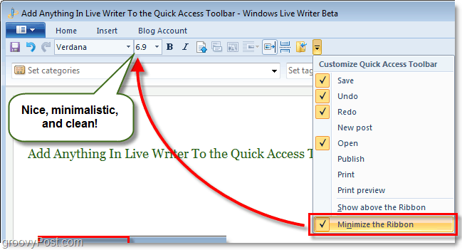 minimize the live writer ribbon