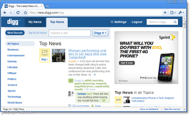 digg top news on the new digg screenshot