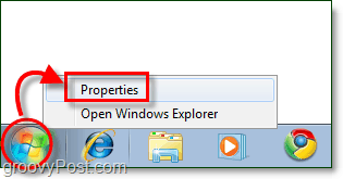 start menu properties in windows 7