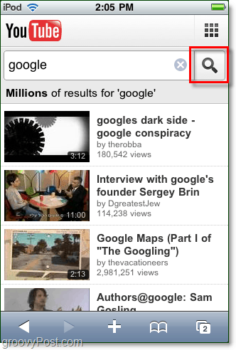 youtube mobile search iphone