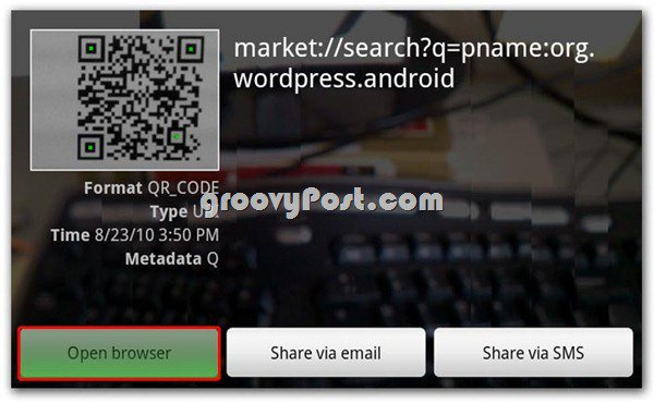Scan the Q Code to grab it on your android
