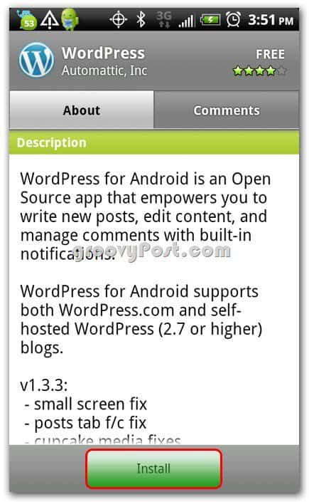 Wordpress on Android install screen