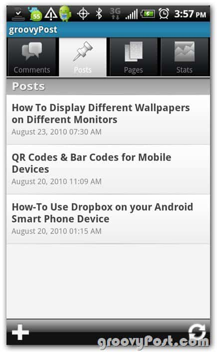 Wordpress on Android create post