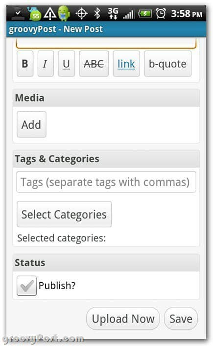 Wordpress on Android more post settings