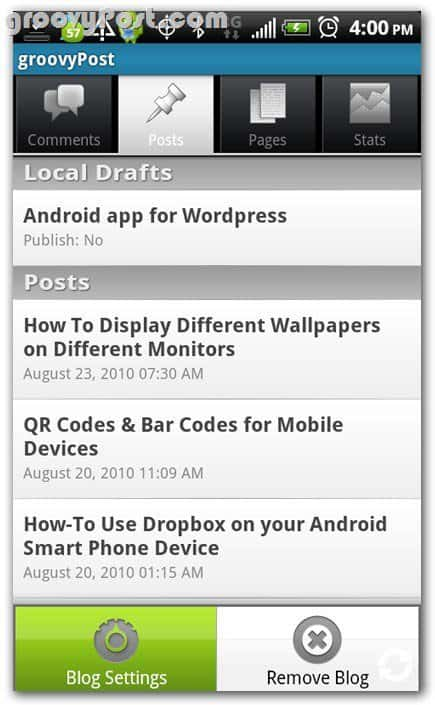 Wordpress on Android Posts review - drafts