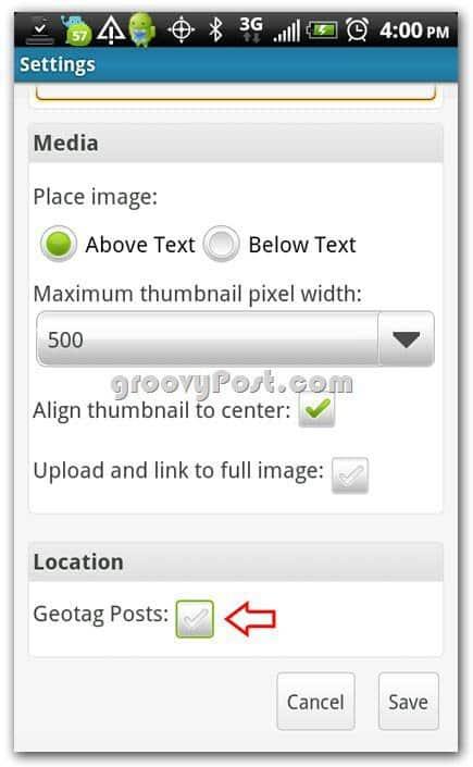 Wordpress on Android Add geotag settings on media